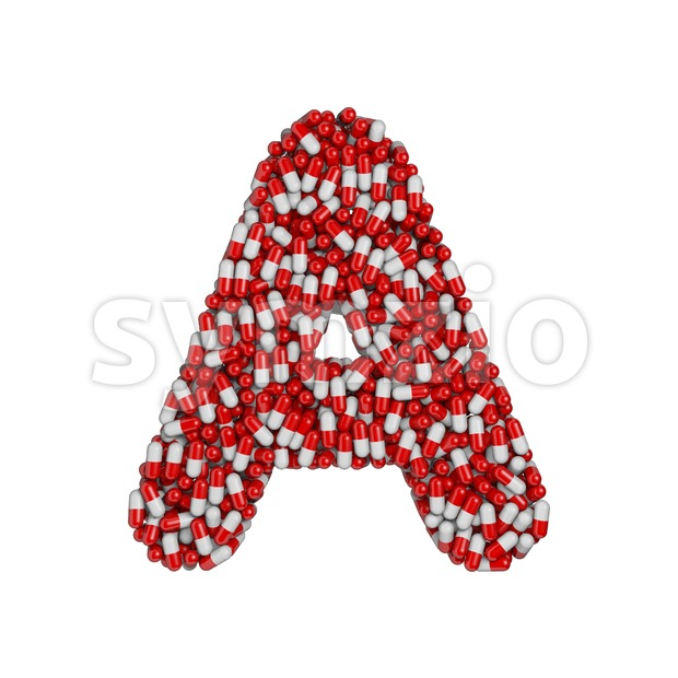 pills letter A - Capital 3d character Stock Photo