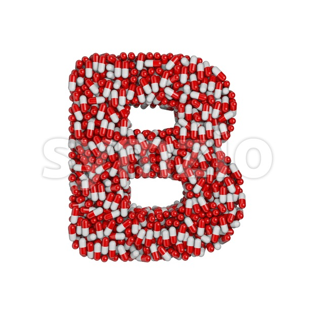 Capital pharmacy letter B - Upper-case 3d font Stock Photo
