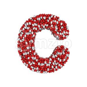3d pills font C - Capital 3d letter Stock Photo