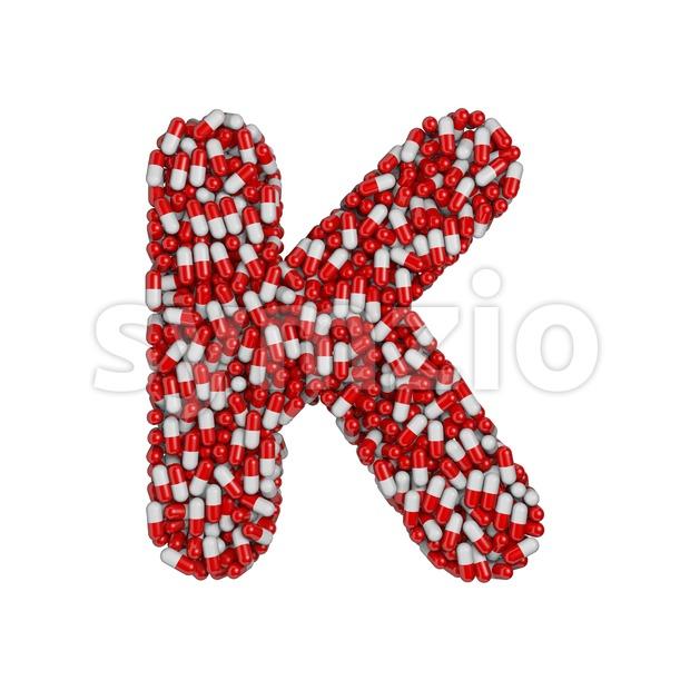 Uppercase pills letter K - Capital 3d font Stock Photo
