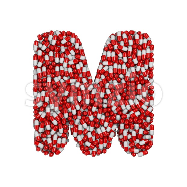 3d Capital character M covered in pharmaceutical pills Stock Photo