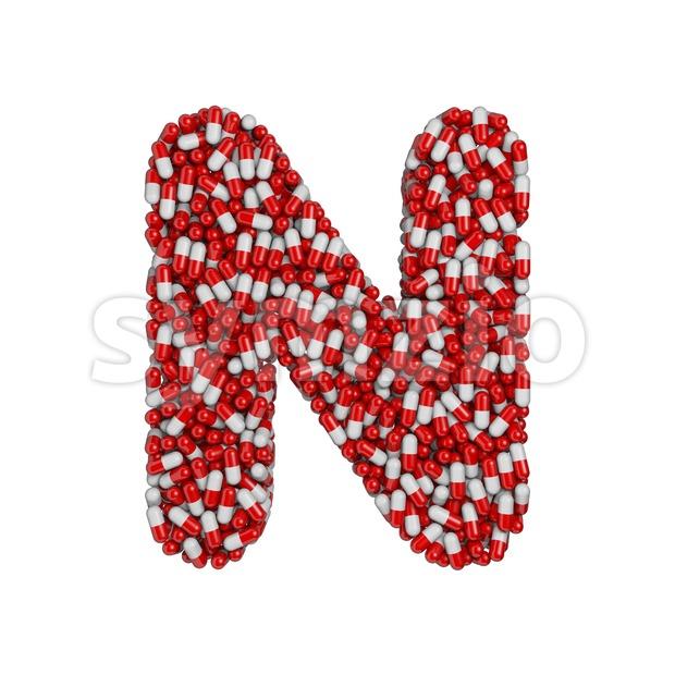 pharmaceutical font N - Capital 3d letter Stock Photo