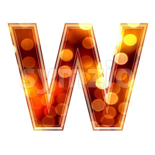 orange lights font W - Capital 3d letter Stock Photo