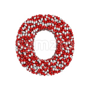 3d Upper-case letter O covered in pills texture Stock Photo