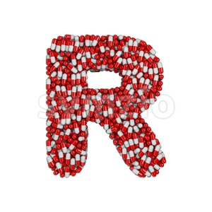 pharmaceutical letter R - Uppercase 3d font Stock Photo