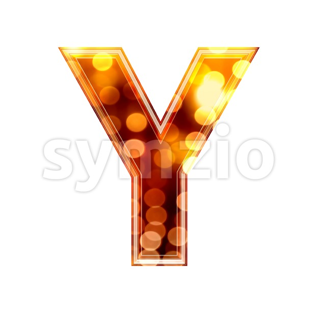 Upper-case defocus lights font Y - Capital 3d character Stock Photo
