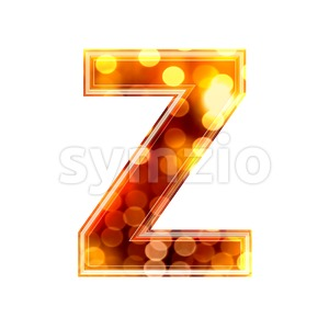 glowing lights letter Z - Upper-case 3d font Stock Photo