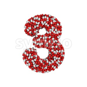 pills number 3 - 3d digit Stock Photo