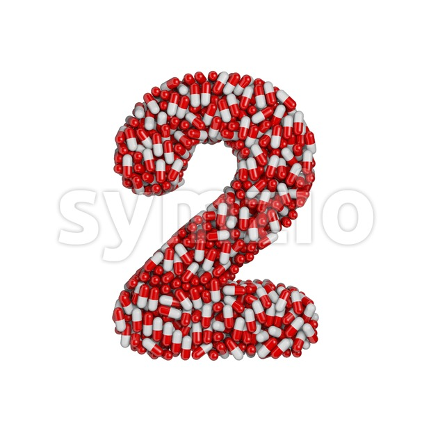 pills digit 2 - 3d number Stock Photo