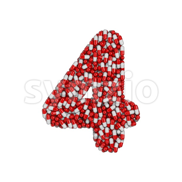 pills digit 4 - 3d number Stock Photo