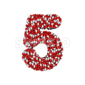 pills number 5 - 3d digit Stock Photo