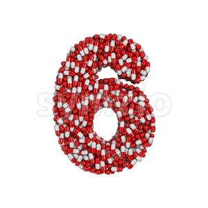 pills digit 6 - 3d number Stock Photo