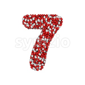 pills number 7 - 3d digit Stock Photo