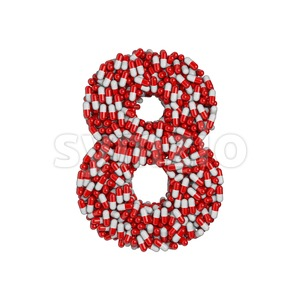 pills digit 8 - 3d number Stock Photo