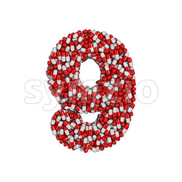 pills number 9 - 3d digit Stock Photo