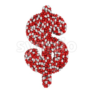 pills dollar currency sign - 3d money symbol Stock Photo