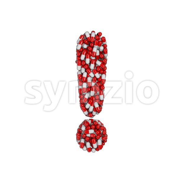 pills exclamation point - 3d symbol Stock Photo