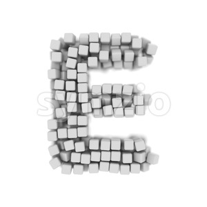 3d Capital character E covered in 3d cube - Upper-case 3d letter Stock Photo
