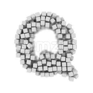 3d Upper-case font Q covered in 3d cube - Capital 3d character Stock Photo