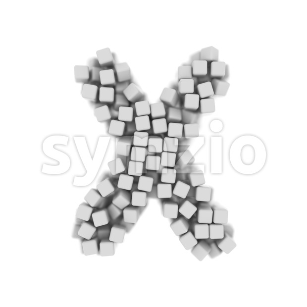 3d Upper-case character X made of 3d cubes - Capital 3d letter Stock Photo