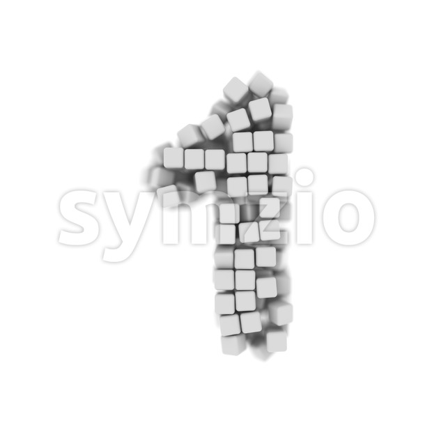 cube number 1 - 3d digit Stock Photo