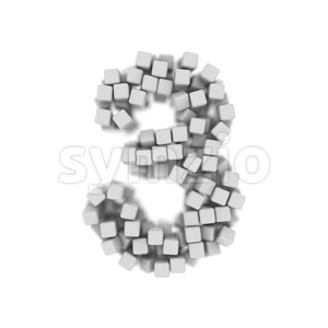 Number 3 covered in 3d cubes - 3d digit Stock Photo