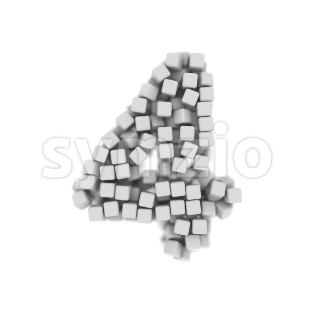 Digit 4 made of 3d cubes - 3d number Stock Photo