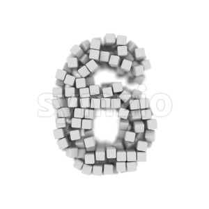 cube digit 6 - 3d number Stock Photo