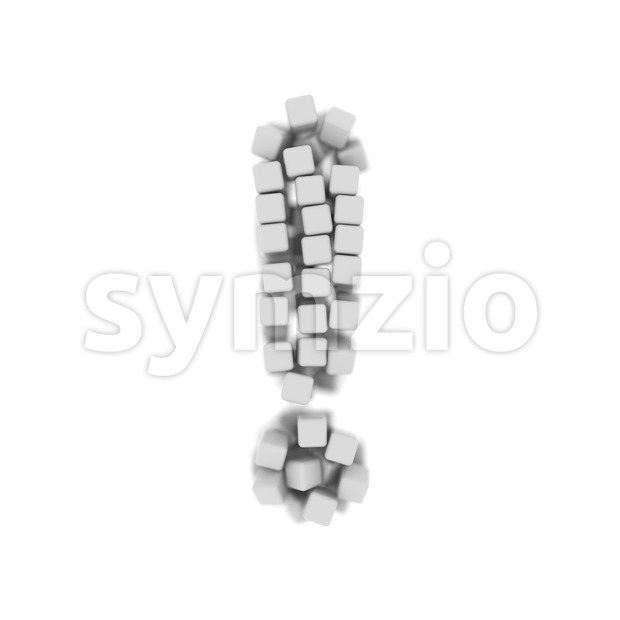 cube exclamation point - 3d symbol Stock Photo