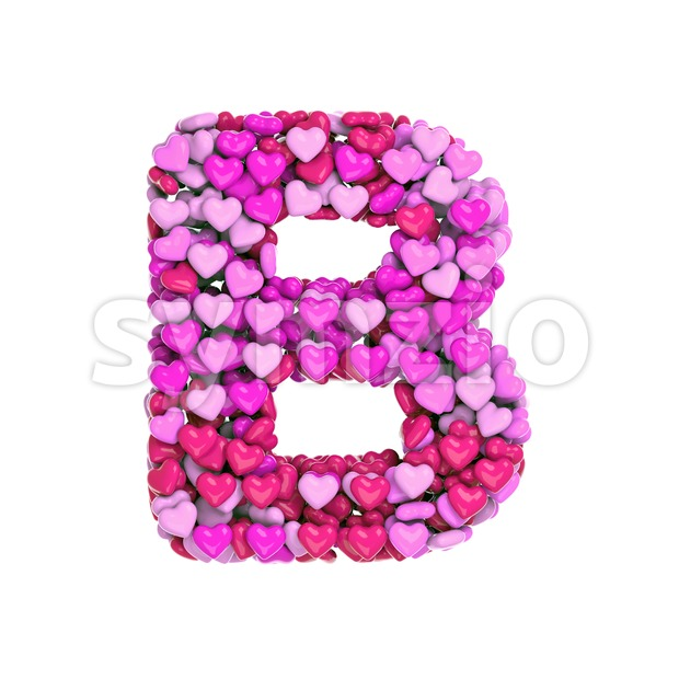 Capital girly letter B - Upper-case 3d font Stock Photo