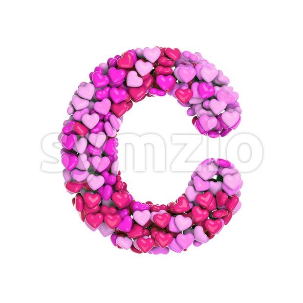 3d Valentine font C - Capital 3d letter Stock Photo