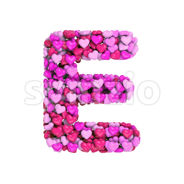 Heart style font E - Capital 3d character Stock Photo