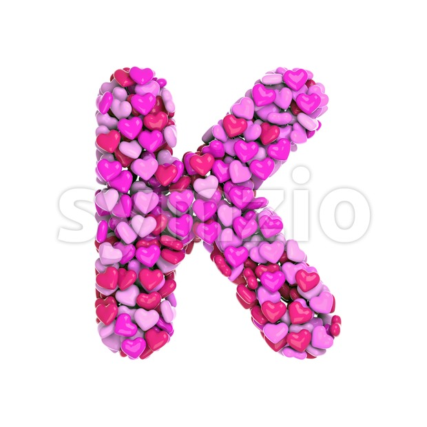 Valentines day font K - Uppercase 3d letter Stock Photo