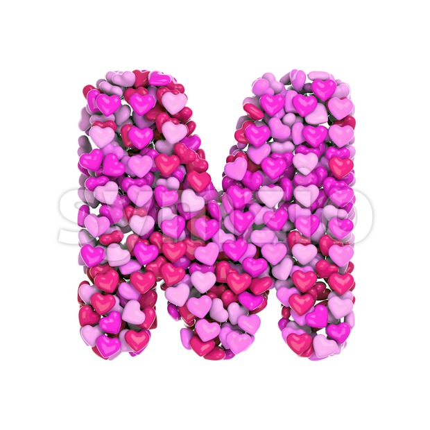 Pink letter M made with hearts - Capital 3d character Stock Photo