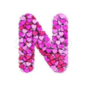 love font N - Capital 3d letter Stock Photo