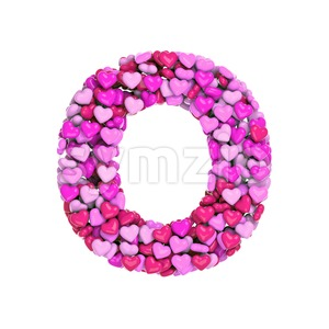 3d Upper-case letter O covered in Valentine texture Stock Photo