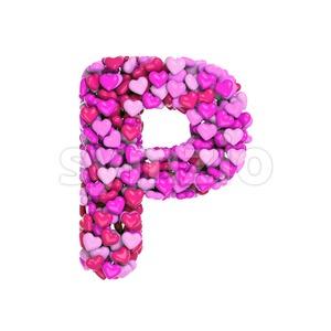 Upper-case love character P - Capital 3d font Stock Photo