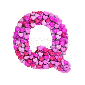 Love type Q - Upper-case 3d font Stock Photo