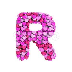 love letter R - Uppercase 3d font Stock Photo