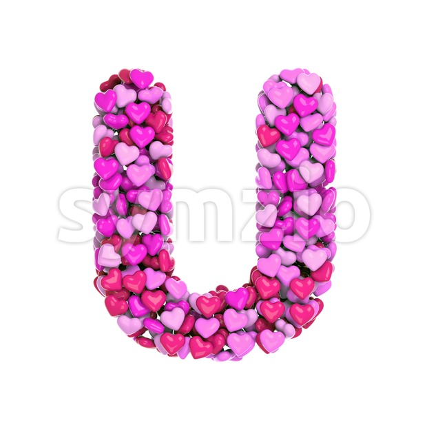 Valentines day font U - Capital 3d letter Stock Photo
