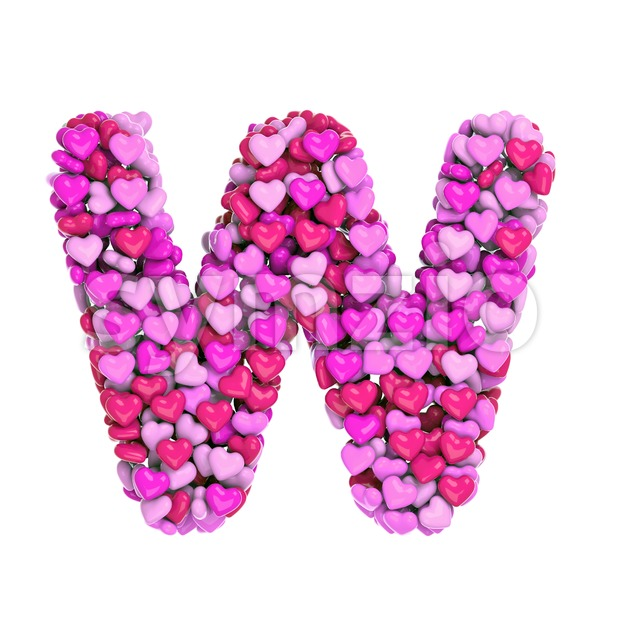 girly font W - Capital 3d letter Stock Photo