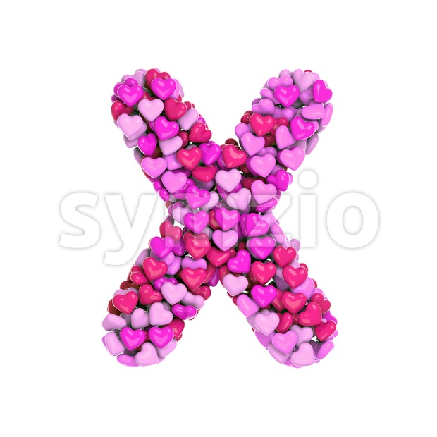 Love character X - Upper-case 3d letter Stock Photo
