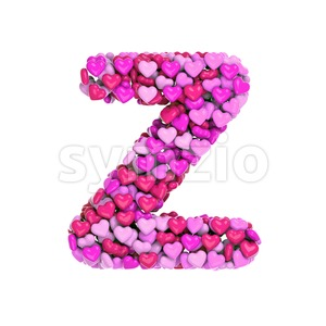 Romantic letter Z - Upper-case 3d font Stock Photo