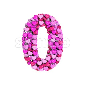 Valentine number 0 - 3d digit Stock Photo