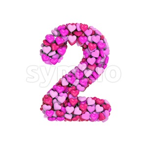 Valentine digit 2 - 3d number Stock Photo