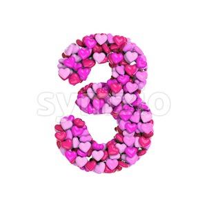 Valentine number 3 - 3d digit Stock Photo