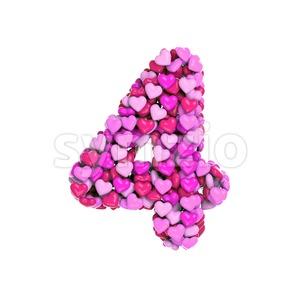 Valentine digit 4 - 3d number Stock Photo