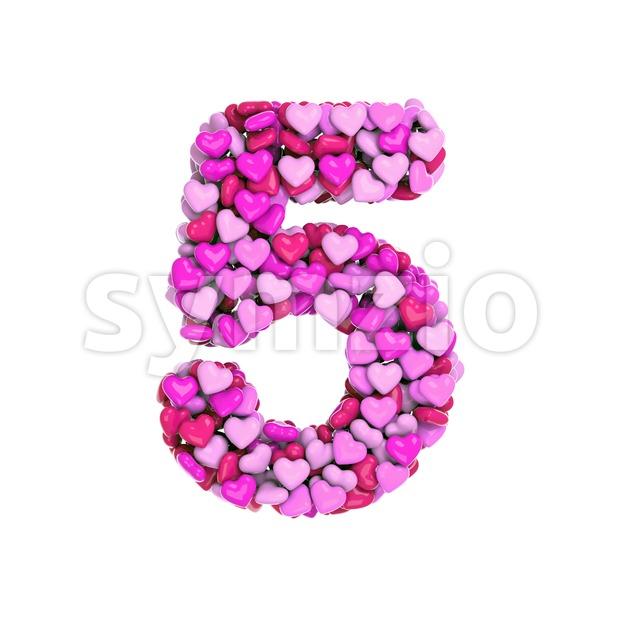 Valentine number 5 - 3d digit Stock Photo