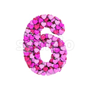 Valentine digit 6 - 3d number Stock Photo