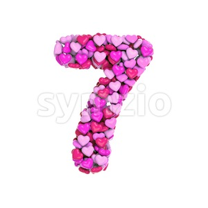 Valentine number 7 - 3d digit Stock Photo